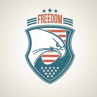 Escudo com um símbolo de águia americana.