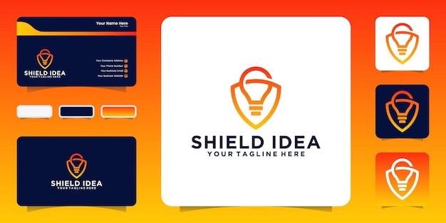 Escudo criativo com inspiração de lâmpada e cartão de visita