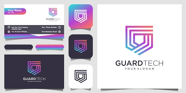 Escudo criativo conceito logotipo com estilo de arte linha. design de logotipo e cartão de visita