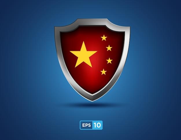 Escudo da china no fundo azul