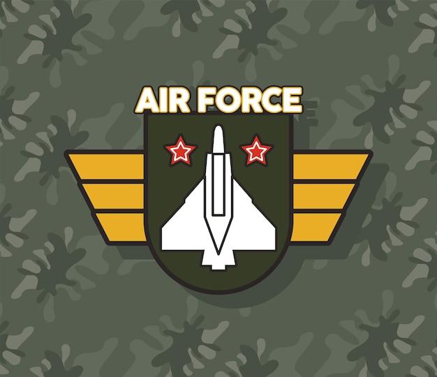 Escudo da força aérea com emblema militar de asas douradas