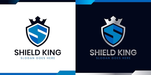 Escudo da letra s inicial com ícone de coroa para o design do logotipo secure safe secret strong