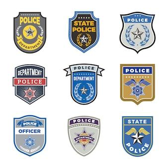 Escudo da polícia, distintivos de agentes do governo e símbolos de segurança do policial