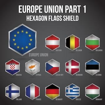 Escudo das bandeiras hexagon da união europeia