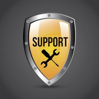 Escudo de apoio sobre ilustração vetorial de fundo cinza
