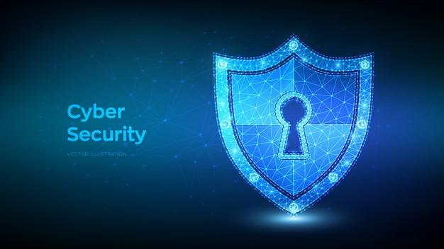 Escudo de baixa segurança poligonal. cíber segurança. ícone de escudo com fechadura. proteger e segurança do conceito seguro.