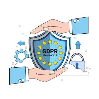 Escudo de cadeado de segurança de dados protege palmas