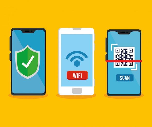 Escudo de código qr e wifi dentro de smartphones vector design