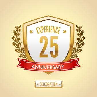 Escudo de etiqueta de aniversário