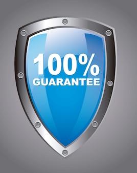 Escudo de garantia azul rótulo sobre vetor de fundo cinza
