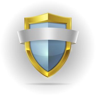 Escudo de guarda com emblema de fita em branco