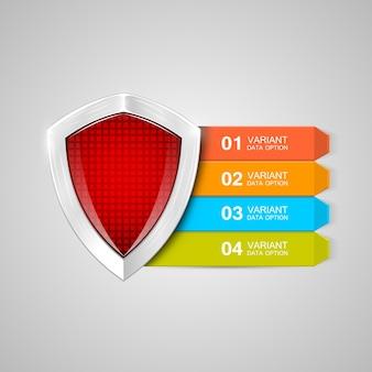 Escudo de infográficos. conceito de proteção. ilustração de proteção de dados