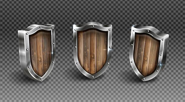 Escudo de madeira com munição de cavaleiro medieval de armação de metal