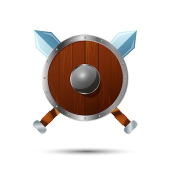 Escudo de madeira redondo com ícone de desenho animado de espadas cruzadas