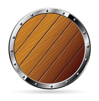 Escudo de madeira redondo
