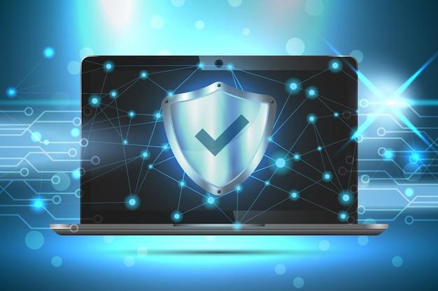 Escudo de marca de verificação na ilustração da tela do laptop