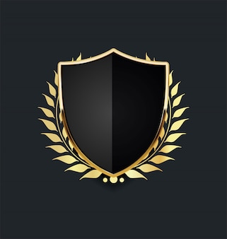 Escudo de ouro com coroa de louros dourada