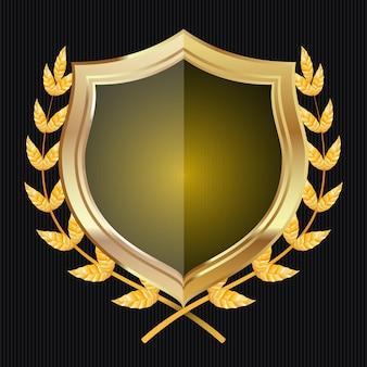 Escudo de ouro com coroa de louros