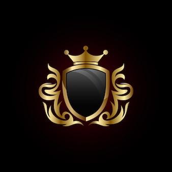 Escudo de ouro com o ícone de coroa