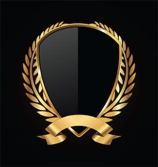 Escudo de ouro e preto com louros de ouro