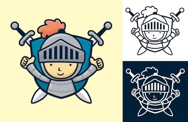 Escudo de pequeno cavaleiro com espada gêmea. ilustração dos desenhos animados em estilo de ícone plano
