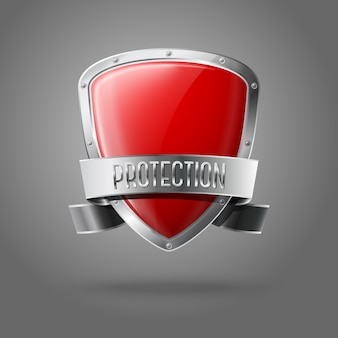 Escudo de proteção brilhante realista vermelho em branco com fita prata e borda em fundo cinza com lugar para você e sua marca.