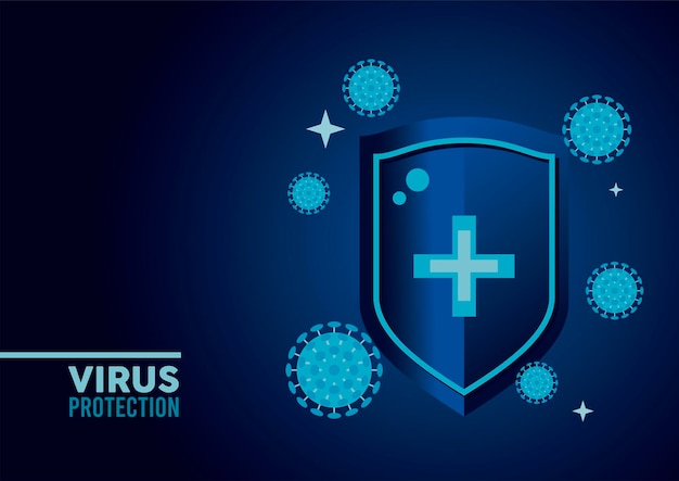Escudo de proteção contra vírus com ilustração de partículas de cor azul