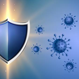 Escudo de proteção de coronavírus com bom conceito de sistema imunológico