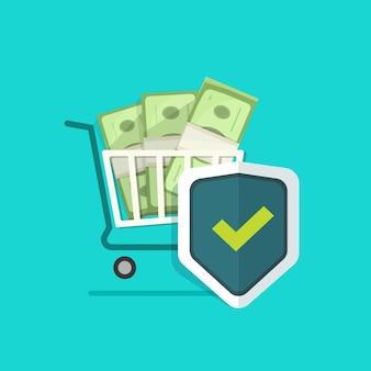 Escudo de proteção de seguro online para compras de dinheiro