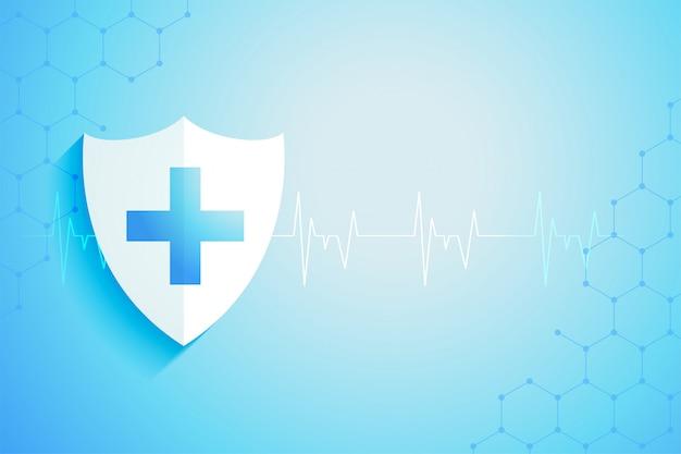 Escudo de proteção médica de saúde com espaço de texto