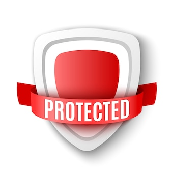Escudo de proteção. símbolo de segurança vermelho. ícone antivírus. ilustração.