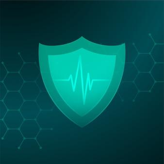 Escudo de saúde médico com conceito de linha de batimento cardíaco