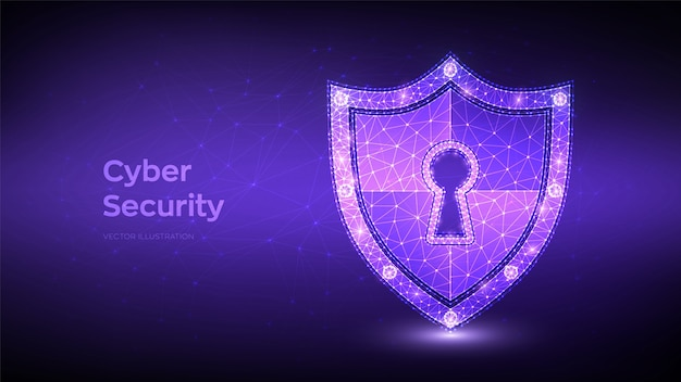 Escudo de segurança. cíber segurança. escudo poligonal baixo com ícone de buraco de fechadura. conceito de proteção e segurança do seguro.