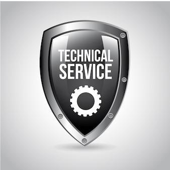 Escudo de serviço técnico sobre fundo cinza