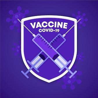 Escudo de vacina coronavirus covid-19, seringas, injeções, conceito de pesquisa médica