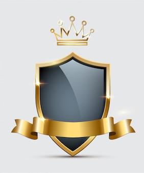 Escudo de vidro brilhante, coroa dourada e fita