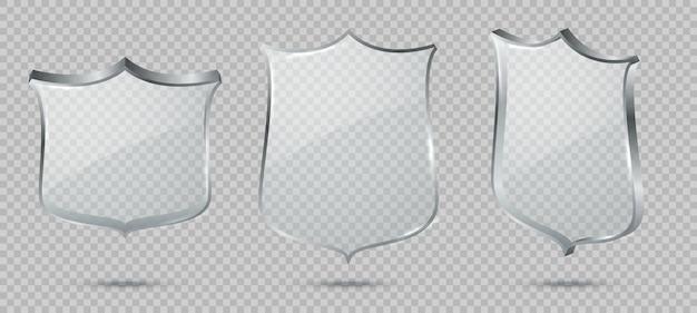 Escudo de vidro. painel de vidro transparente em branco com reflexo, troféu de prêmio, certificado ou modelo de sinal de defesa frontal, conjunto de proteção de cristal de vetor com vista de ângulo