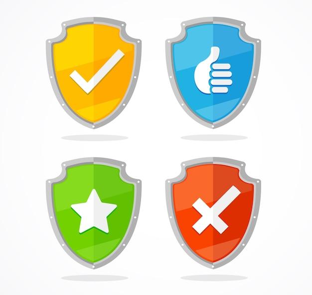 Escudo definido, verificação de proteção e sinal de parada