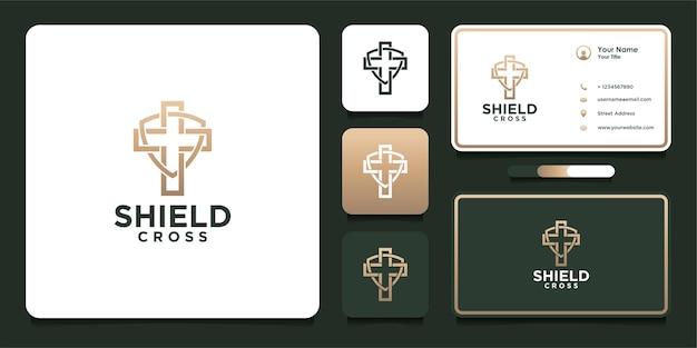 Escudo design de logotipo cruzado com estilo de linha e cartão de visita