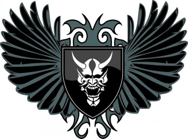 Escudo do diabo com asas vector icon