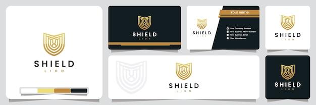 Escudo do leão, segurança, com cor dourada, inspiração para o design do logotipo