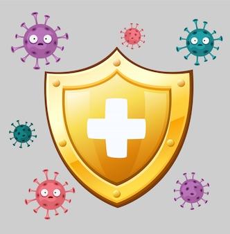 Escudo dourado cercado por vírus