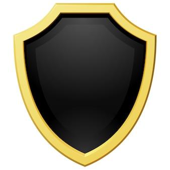 Escudo dourado de ilustração vetorial com um fundo escuro