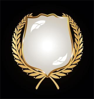 Escudo dourado e preto com louros dourados