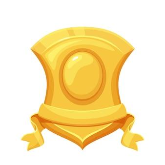 Escudo dourado. vencedor do primeiro lugar, troféu, prêmio esportivo. ícone de vetor isolado de escudo dourado em primeiro lugar estilo cartoon.