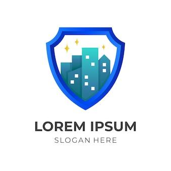 Escudo e cidade, logotipo de combinação com estilo de cor 3d amarelo e azul