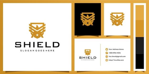 Escudo e design de logotipo de proteção de águia com conceito de cartão de visita
