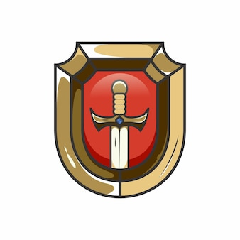 Escudo e espada jogos esport logotipo.