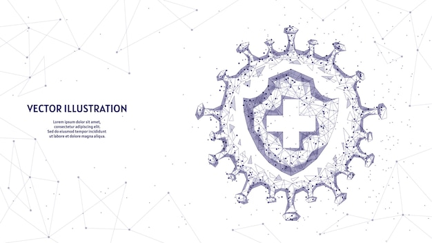 Escudo e infecção. proteção contra o vírus, a luta contra o coronavírus covid-19. vacinas, antibióticos, remédios, tecnologia médica inovadora.