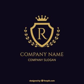 Escudo elegante logotipo dourado